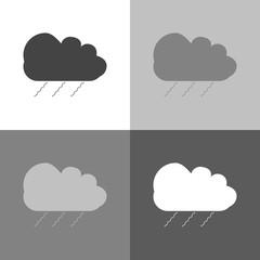 Vector icon set cloud of rain  on white-grey-black color.