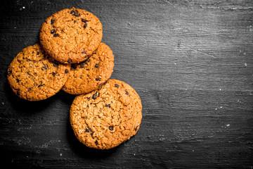 Oat cookies. On Black chalkboard.