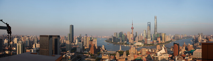 Aerial photography bird view at Shanghai bund Skyline