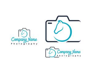 Line Art Camera Photography with Head Horse Illustration Symbol Modern Logo Company Vector Set