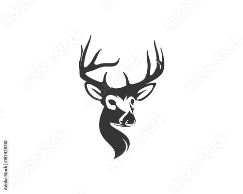 Hunting Classic Head Deer With Horn Illustration Symbol Modern Logo
