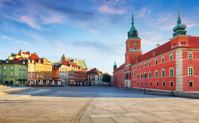 Panorama of Warsaw old town, Poland