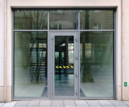 New glass door to the new office building