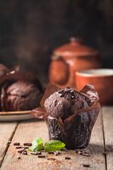 Homemade chocolate muffin