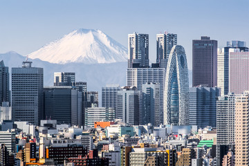 Canvas Prints Tokyo Tokyo Shinjuku building and Mt. Fuji at Behind