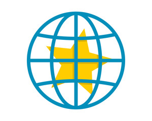 yellow star blue circle globe image vector icon logo