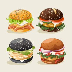 Set of Burgers : Burger with Ingredients : Vector Illustration