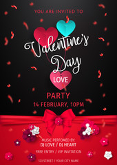 Happy Valentine's Day Party Flyer. love Invitation card Valentine's day on abstract background with blank text, Valentine's Day Party Vector illustration.