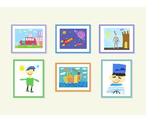 Иллюстрация с изображением цветных детских рисунков в рамках, развешанных на стене. Машина, космический корабль, рыцарь возле замка, портрет мальчика, корабль в море, портрет моряка.
