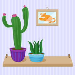 Cactus and succulent home plants in pots on wooden shelf, element of room interior vector Illustration