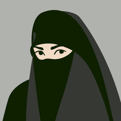 Muslim in hijab face vector illustration flat style front