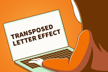 Woman looking at a laptop screen with the words transposed letter effect