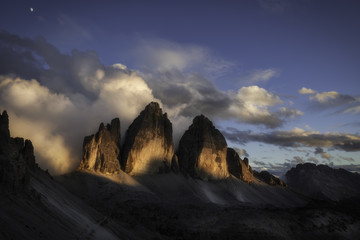 Sunrise at the north wall of Tre cime di Lavaredo peak, dolomites, South Tyrol, Italy, Europe