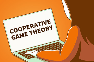 Woman looking at a laptop screen with the words cooperative game theory