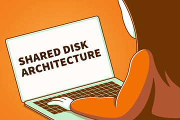Woman looking at a laptop screen with the words shared disk architecture