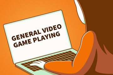Woman looking at a laptop screen with the words general video game playing