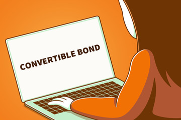 Woman looking at a laptop screen with the words convertible bond