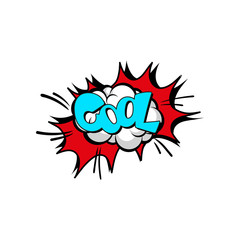 Speech bubble with text Cool, cartoon explosion, comic text sound effect vector Illustration