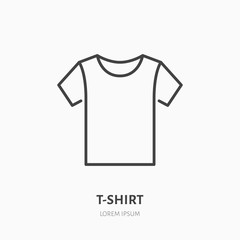 T-shirt flat line icon. Apparel store sign. Thin linear logo for clothing shop.