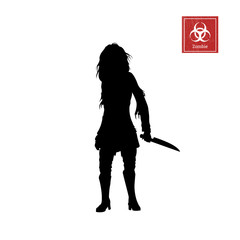 Black silhouette of women zombie with knife on white background. Isolated image of undead monster