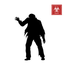 Black silhouette of zombie on white background. Isolated image of undead monster