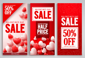 Valentines day sale vector poster set designs with red hearts shape elements and discount text in a background for valentines seasonal shopping promotion. Vector illustration.
