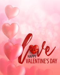 Happy Valentine's day Greeting card with realistic heart and bow.