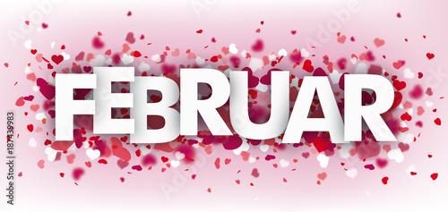 Valentinstag Banner Mit Herzen Und Dem Wort Februar