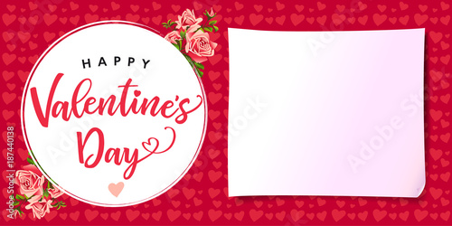 Happy Valentines Day Rose Flower Love Banner Greeting Card Template With Text Happy Valentine