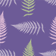 Fern seamless pattern. Ultra violet. Vector illustration