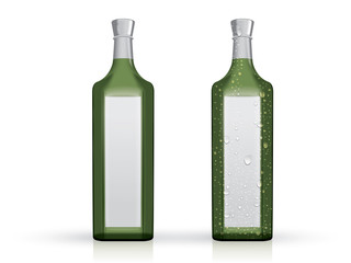 transparent glass bottle with drops on a white background mock up