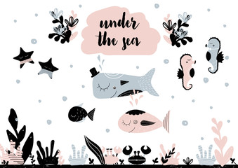 Card with calligraphy lettering under the sea and composition in scandinavian style. Vector illustration