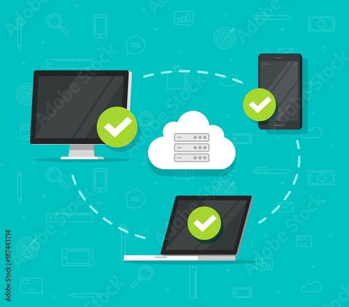 cloud network connection between devices vector illustration flat rh fotolia com