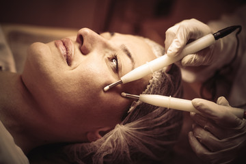 Facial beauty treatment. Focus.