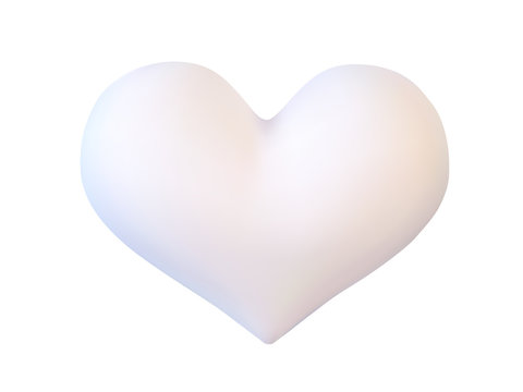 Realistic white vector valentine heart in 3d style with glare on white background. Vector illustration
