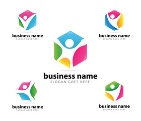 unity organization community social logo set