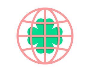 clover circle globe image vector icon logo