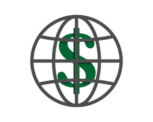 dollar currency finance bank money price symbol image vector globe icon