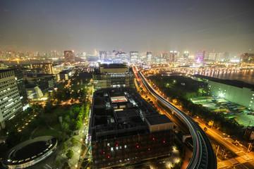 City view from Odaiba Landmark tower at night, Tokyo, Japan