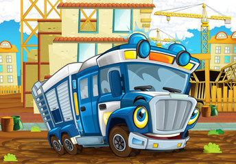 cartoon funny looking policeman truck driving through the city near construction site - illustration for children