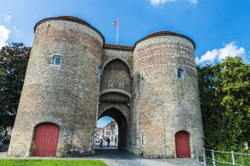 Gentpoort (Gate of Ghent) in Bruges, Belgium