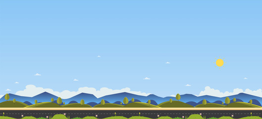 Beautiful nature scene with country road and hill for foreground.Clean spring amazing scenery. Vector illustration.Road with nature landscape , grass ,hill , field , mountains , flowers ,trees and sky