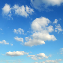Light clouds in the blue sky.