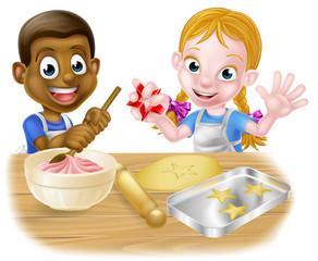 Cartoon Kid Chefs Baking Cakes