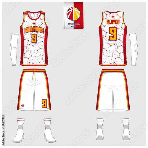 Basketball Uniform Template Design Tank Top T Shirt Mockup For