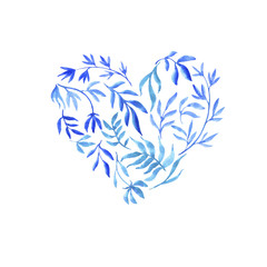 heart from watercolor doodle plants and flowers