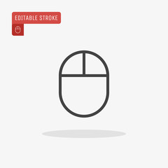 Outline computer mouse icon isolated on grey background. Editable stroke. Vector illustration