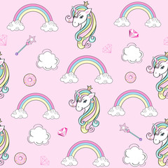 cute background with unicorn and clouds on a pink background