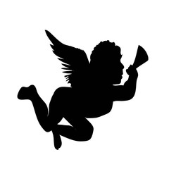 golden vector christmas angel silhouette icon illustration