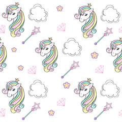 beautiful unicorn seamless pattern